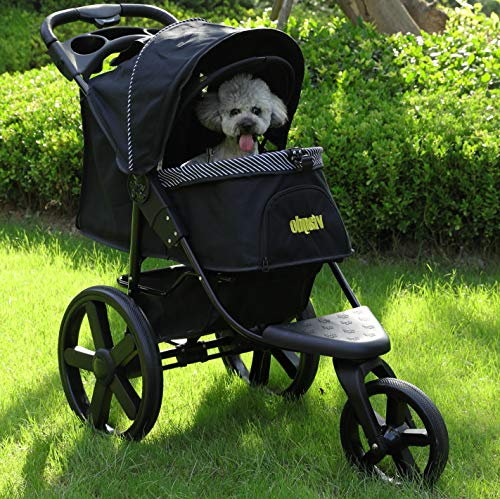 VIAGDO Luxury Dog Stroller Jogger for Small Medium Dogs & Cats, No-Zip Pet Stroller Foldable 3-Wheel...
