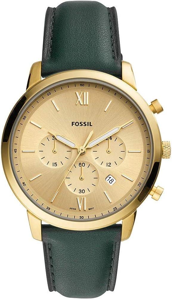 Fossil, orologio,cronografo per uomo,con cassa in acciaio inossidabile e cinturino in vera pelle al 100 % FS5580
