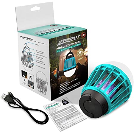 600 LMS 46 Hrs ǀ Waterproof Blazin LED Bug Zapper Lantern ǀ Ultraviolet Camping Mosquito Killer Light Indoor ǀ Outdoor Bug Fly Moth Zapping Lamp ǀ 3-D Battery Powered ǀ 4 Modes