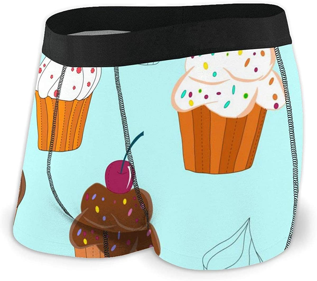 Randolph Wordsworth Mens Boxer Briefs Sweet Cupcakes Light Blue Breathable Underwear