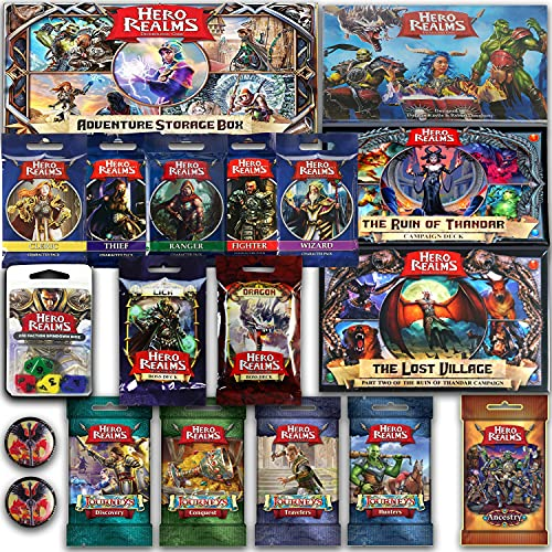 Hero Realms Card Game Base Bundle With Storage Box, The Ruin of Thandar, The Lost Village, Characters Set Packs, Journeys Set Packs, Ancestry Pack, Lich & Dragon Boss Decks, Dices Set & 2 Glory Tokens