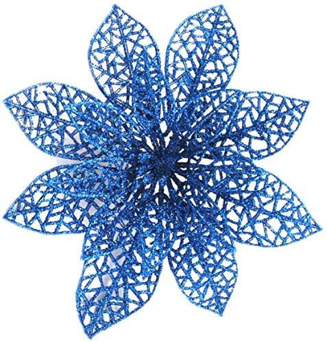 MXJFYY Fiori Artificiali per Albero di Natale 12 Pezzi di Fiori Artificiali Glitterati per Decorazioni Natalizie Ornamenti per Alberi di Natale (Blu)