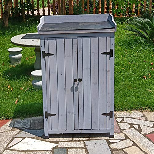 Wooden tool shed outdoor garden double door storage cabinet, rainproof and anticorrosive solid wood 3-layer courtyard balcony sundries storage cabinet, used for garden lawn swimming pool accessories