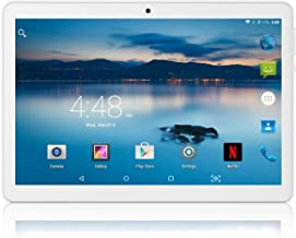 Tablet 10 inch with SIM Card Slot Manjee Android Tablet 4+64GB 3G WiFi Unlocked Phablet Pad Built-in GPS FM (Silver)