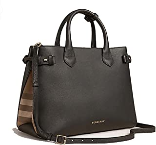 58ea4edab8 Tote Bag Handbag Authentic Burberry The Medium Banner in Leather and House  Check Black Item 39589781