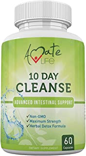 10 Day Intestinal Cleanse Supplement for Men and Women-Black Walnut Wormwood- Intestine & Colon Cleanse Detox Vitamins Supplements Parasite Cleanse for Adults Non-GMO 60 Capsules by Amate Life