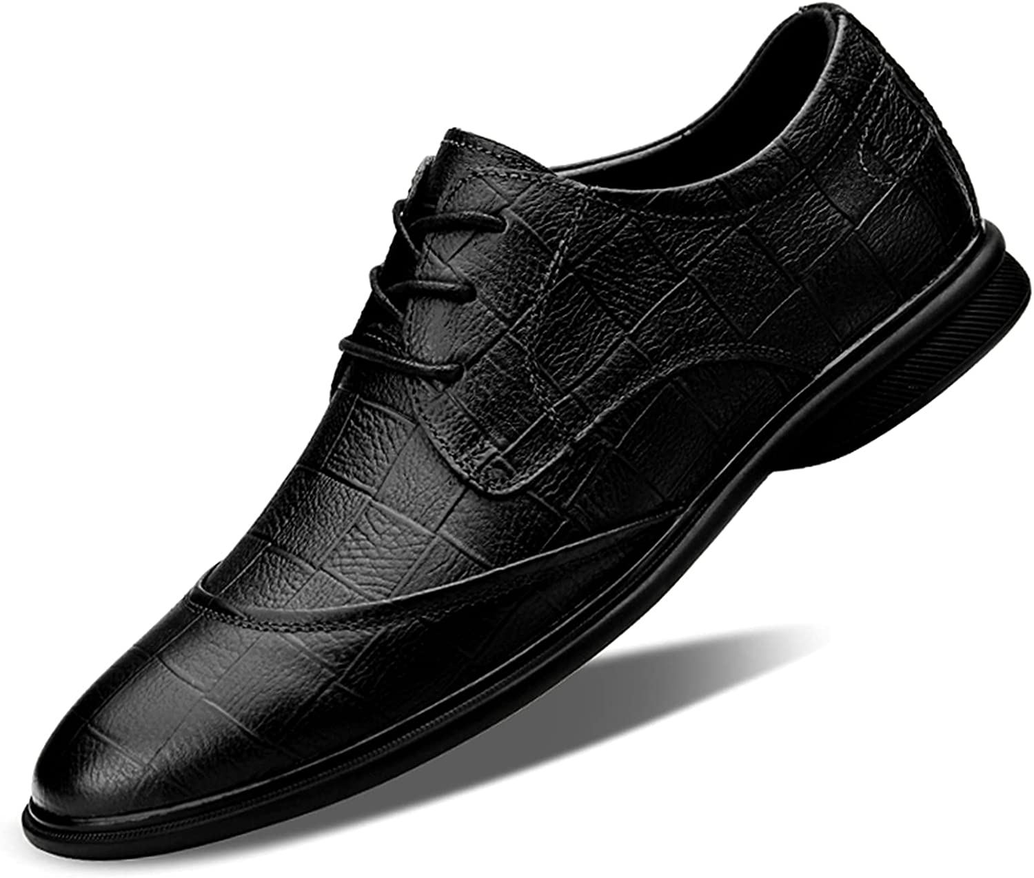 Men's Oxford Shoes Leather Checkered Dress Shoes Lace-up Business Casual Shoes