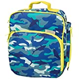Bentology Lunch Box for Kids - Girls and Boys Insulated Lunchbox Bag Tote - Fits Bento Boxes - Shark Camo