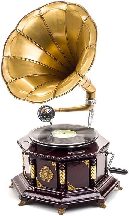 Grammofono con piatto in ceralacca decorato in stile antico 70 cm B00DU83QZK