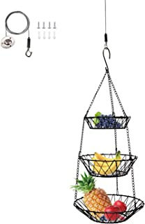 3 Tier Hanging Basket, Rustic Country Style Fruit and Vegetable Basket Space Saving, Kitchen Storage Baskets, Black Heavy Duty Wire Organizer