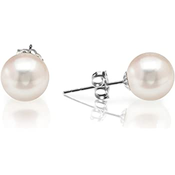PAVOI Handpicked AAA+ Sterling Silver Round White Freshwater Cultured Pearl Earrings