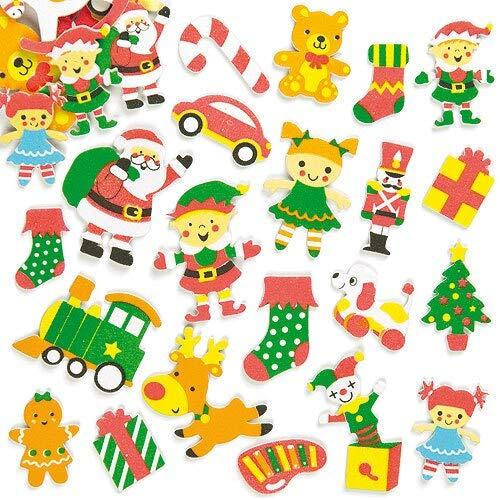 Baker Ross Autocollants Atelier du Père Noël en Mousse (Paquet de100) - Matériels créatifs pour Enfants et Adultes