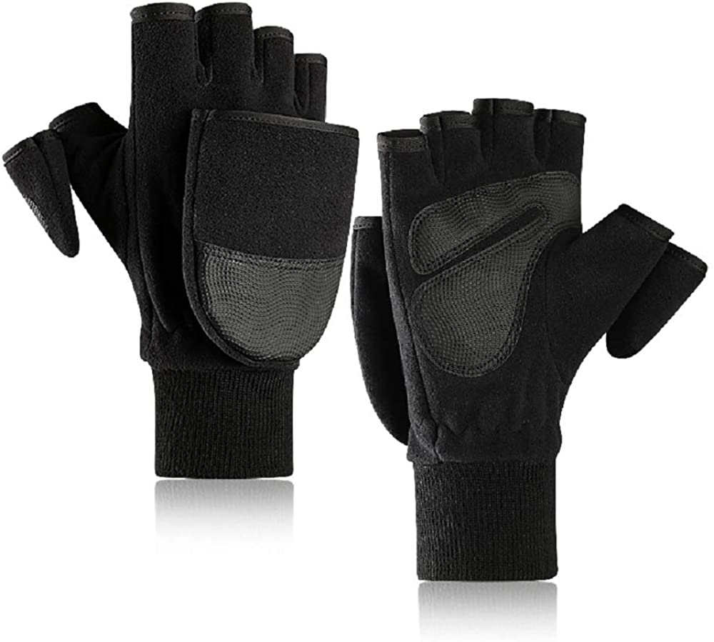 Winter Thick Gloves for Men&Women Warm Knitted Wool Mittens Fingerless Gloves Half Finger Outdoor Gloves