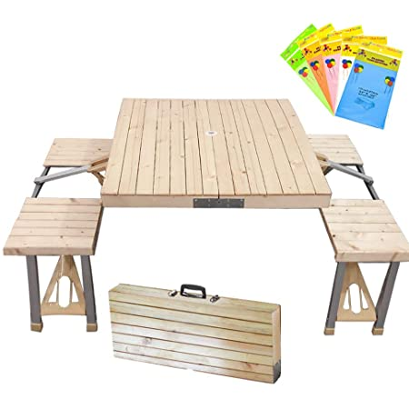 STONCEL Folding Table and Chairs Set, Portable Picnic Table with 4 Seats for Outdoor Camping Picnic BBQ, Party and Dining(Wooden)
