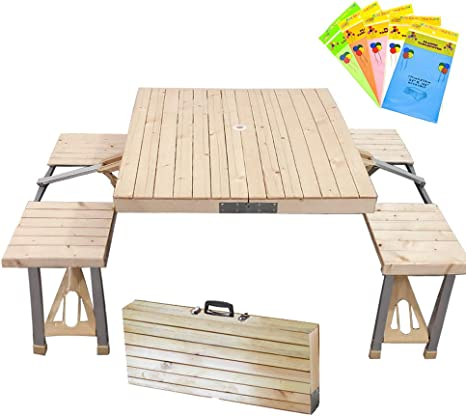 Amazon Com Stoncel Folding Table And Chairs Set Portable Picnic Table With 4 Seats For Outdoor Camping Picnic Bbq Party And Dining Wooden Kitchen Dining