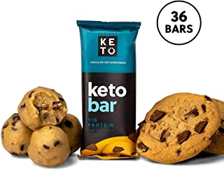 Perfect Keto Bar, Keto Snack (12 Count), No Added Sugar. 10g of Protein, Coconut Oil, and Collagen, with a Touch of Sea Salt and Stevia. (36 Bars (3 Boxes), Choc Chip Cookie Dough)