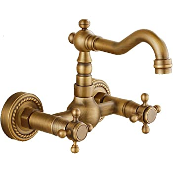 Wall Mounted Solid Brass Kitchen Mixer Tap Inspired Bathroom Sink Tap, Antique Brass Finish
