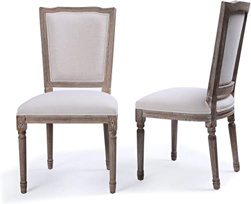 new arrival BELLEZE Set of (2) Modern Classic Elegant sale Upholstered Linen High Back discount Formal Dining Chairs W/Wood Legs, Beige sale