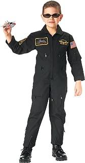 Junior G.I. Top Gun Flight Coveralls with Patches, Pilot Costume, Black