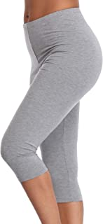 Womens High Waisted Ultra Soft Capri Leggings Yoga Pants - Regular & Plus Size