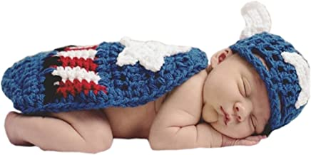 Pinbo Newborn Baby Boys Photography Prop Crochet Knitted Captain Hat Cape
