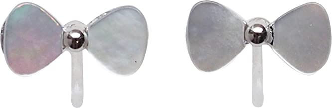 Miyabi Grace Roibbons Bow Ties White Mother Of Pearl Shell Invisible Clip On Stud Earrings Silver tone