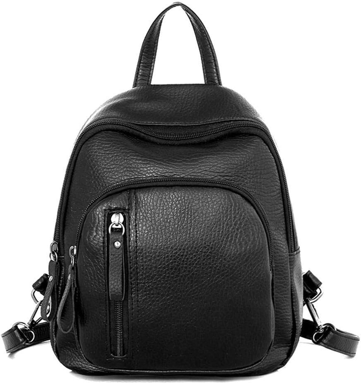 5749a5aae3017 Small Women Black Backpacks Zipper Pu Leather Student Backpack ...