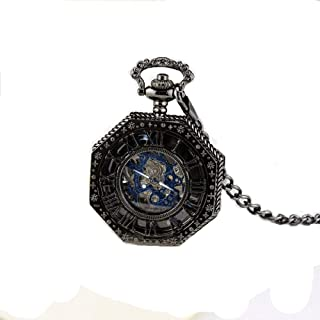 XMhbzy Steampunk Vintage Tone Octagon Skeleton Mechanical Pocket Watch with Chain