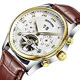 Segolike Luxury KINYUED Mens Automatic Mechanical Casual Watch Tourbillon Calendar Gold Case