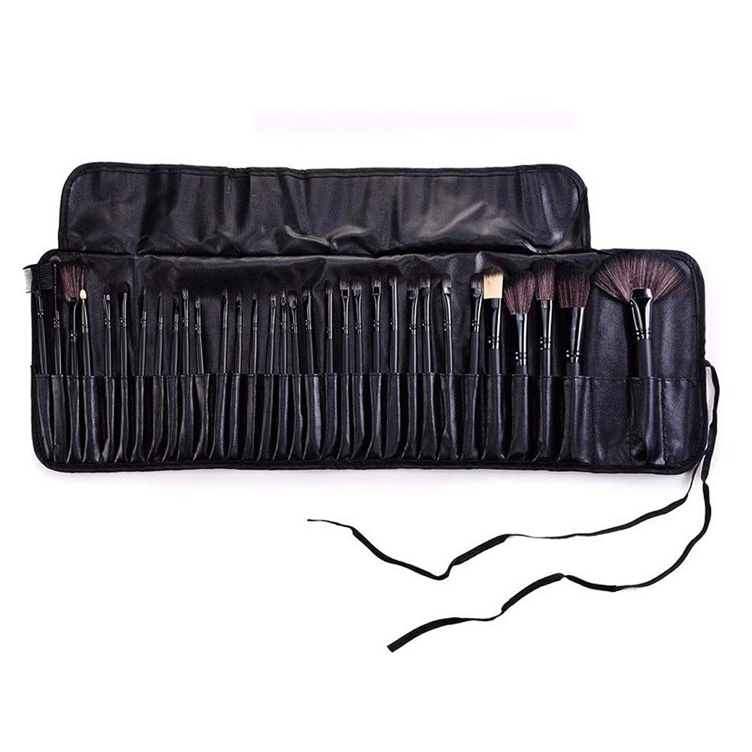 バレルショッキング考古学者Makeup brushes ブラックバッグ32メイクブラシセットモダンな合成アイシャドウアイライナー液化ファンデーションコンシーラーミキシングブラシセット suits (Color : Black)