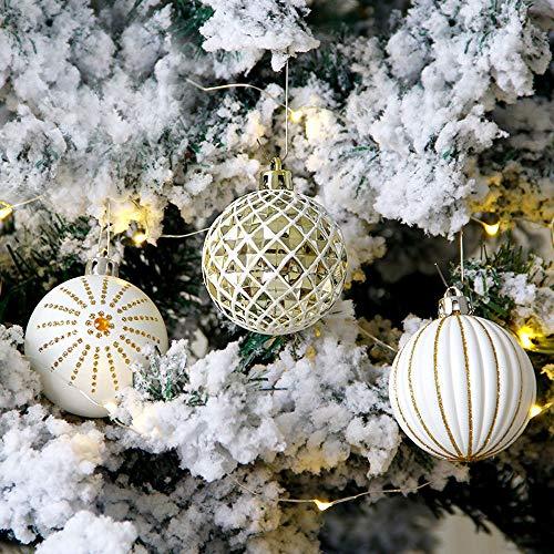 Romote 24pcs Noël Forme Pure Boule Blanche Arbre Pendentif en Forme de babioles en Peluche Ornement Mousse Arbre de Noël de Vacances Party