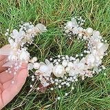 Ownlife Elegante Braut Hochzeit Haarschmuck Perle Blume Stirnband Haarband Handgemachte Kristall...