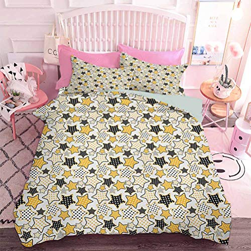 Hiiiman 3pcs Bedding Set Yellow and Black Stars with Retro Style Polka Dots Pattern Old Fashion Fun (3pcs, Full Size) 3D Lifelike Printing Duvet Cover
