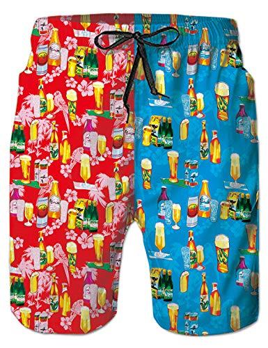 uideazone Beer Hombre Bañador de Natación Trajes de Baño Los Carnavales Pantalones Cortos