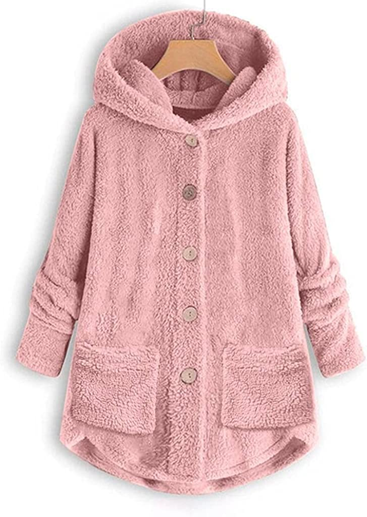 Women's Fleece Poncho With Hood Plus Size Button Plush Outwear Hooded Trench Loose Overcoat Wool Winter Jacket Coat Top
