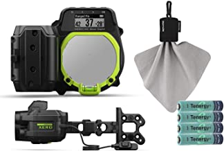 Garmin Xero A1 Bow Sight Bundle with Retractable Microfiber Towel & Rechargeable Batteries (4-Pack, AAA)   Auto-Ranging Digital Sight, Silent Single-Button (Left-Handed, Standard)