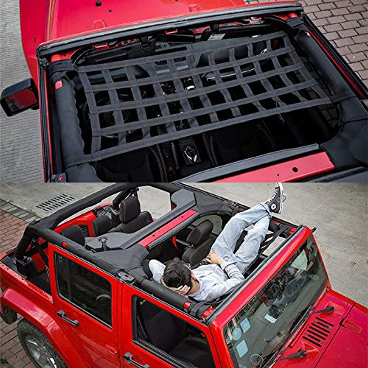 Nathan-Ng - New Heavy Duty Cargo Roof Top Soft Cover Rest Bed Hammock for Jeep Wrangler JK 07-18
