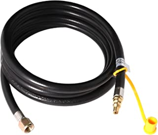 KIBOW 10Ft Low Pressure Propane Quick-Connect Hose-3/8 Inch SAE Female Flare Fitting & Male Full Flow Plug for RVs