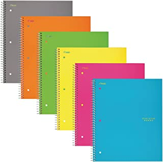 """Five Star Spiral Notebooks, 5 Subject, Wide Ruled Paper, 200 Sheets, 10-1/2"""" x 8"""", Assorted Colors, 6 Pack (38438)"""