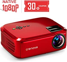 "Crenova Projector Native 1080p LED Video Projector, 6000 Lux HDMI Projector with 200"" Image Display Compatible with TV Stick, HDMI, VGA, USB, Laptop, Phone for Home Theater"