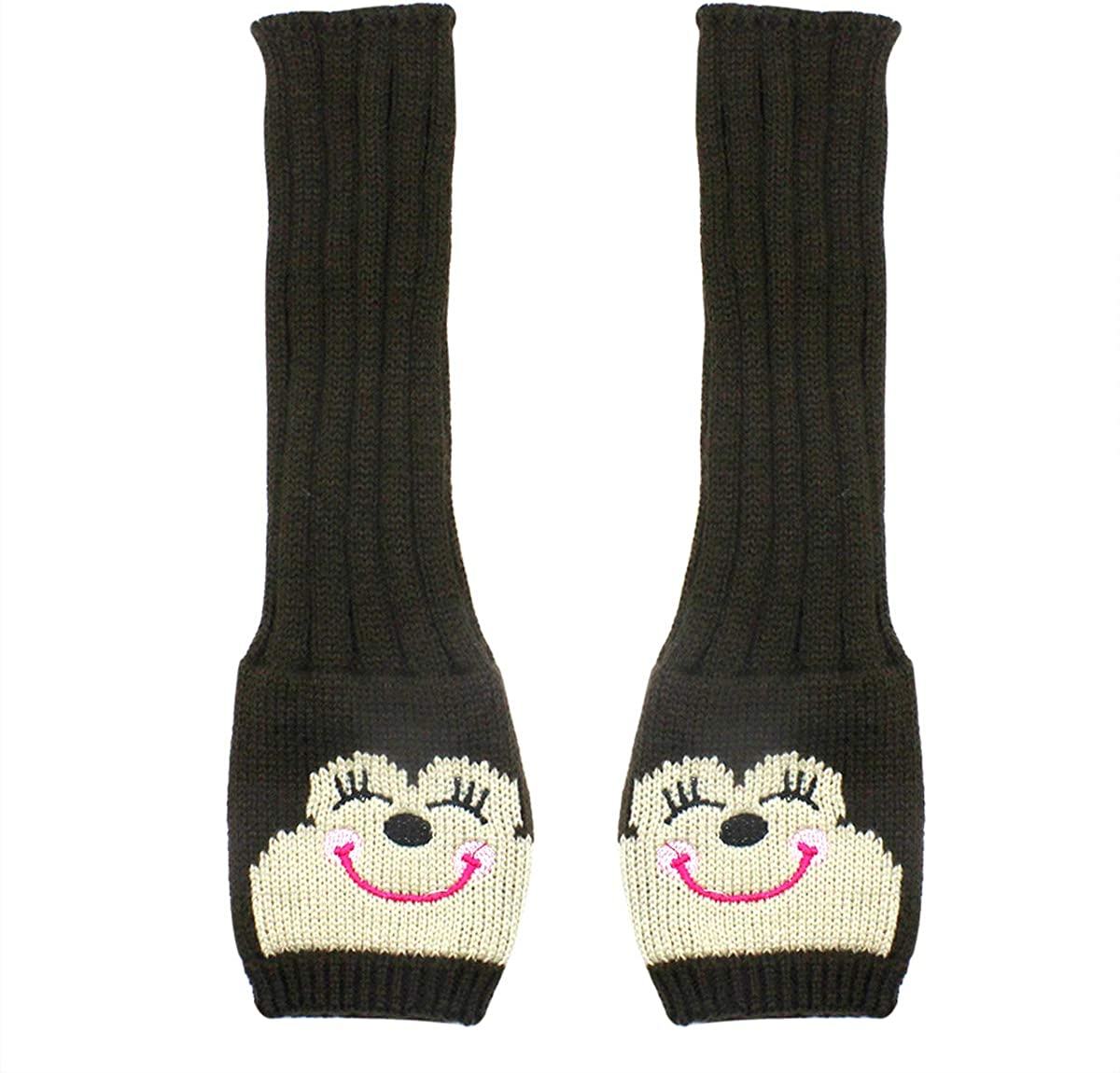 Long Sleeve Fingerless Gloves Cute Knit Arm Warmers with Thumb Holes for Girls Women