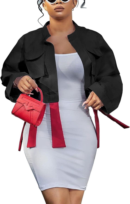 DINGANG Women's Long Sleeve Fleece Jackets Casual Tassel Lightweight Pea Coat Band Short Outerwear