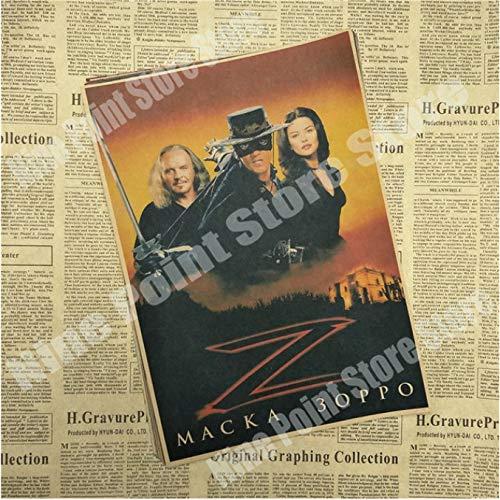 wqmdeshop Cartel Vintage La Leyenda del Zorro Antonio Banderas Catherine Zeta Jones Legend Movie Poster Póster Retro Decoración del Hogar 50X70Cm (N: 3598)