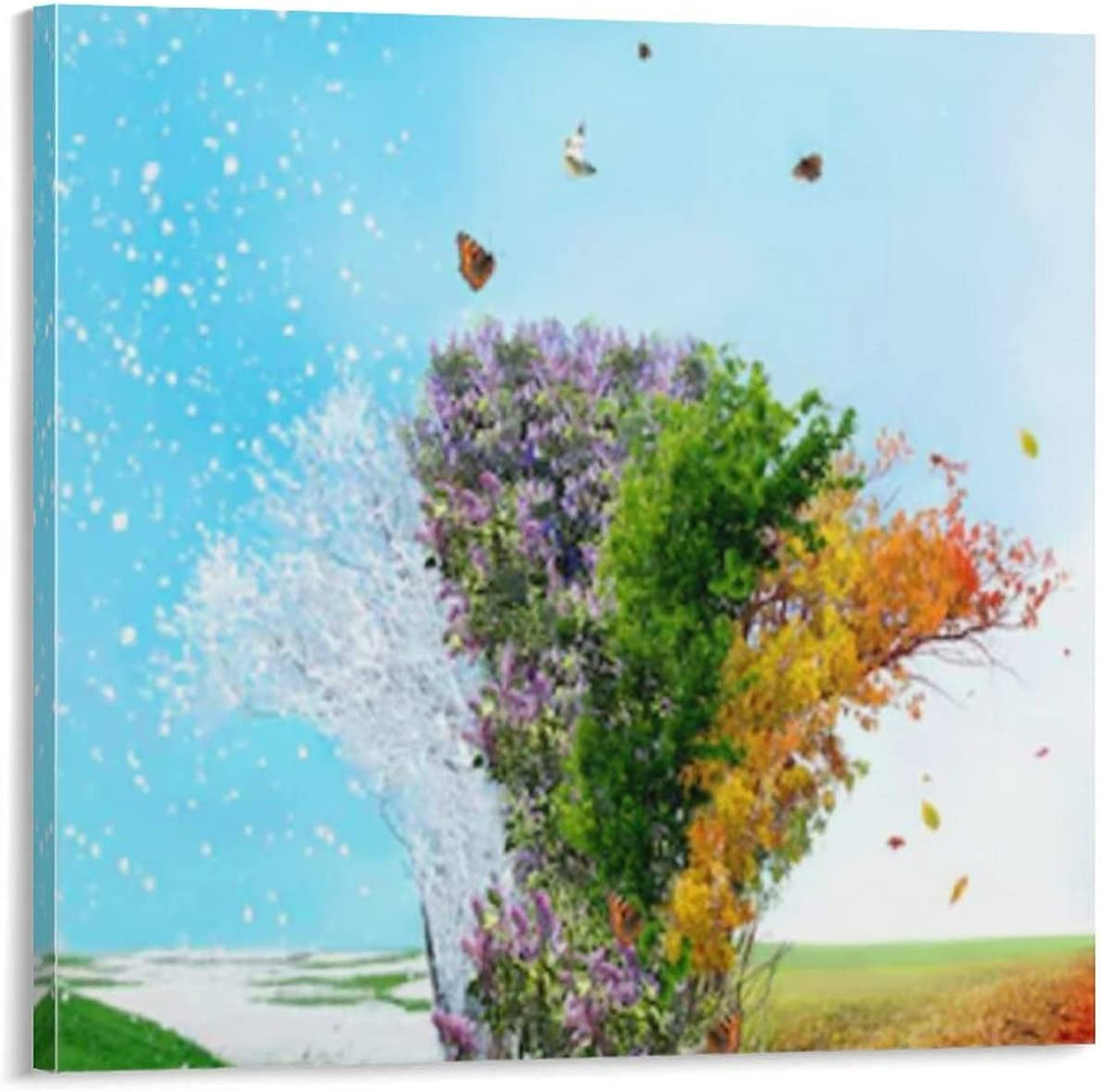 Art Canvas Painting Four Seasons Mural Special price A discount Landscape Tree