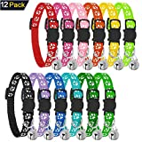 PetGens Reflective Cat Collars with Bells, Safe Quick Release Cat Collar, Adjustable to Fit All Domestic Cats(12 Pack)