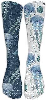 QR FUNK Womens/mens Unisex Contrast Color Jellyfish Aquatic Plants Sports/casual Long Socks Stocking