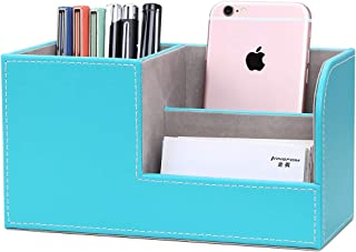 KINGFOM Wooden Struction Leather Multi-Function Desk Stationery Organizer Storage Box Pen/Pencil,Cell Phone, Business Name...