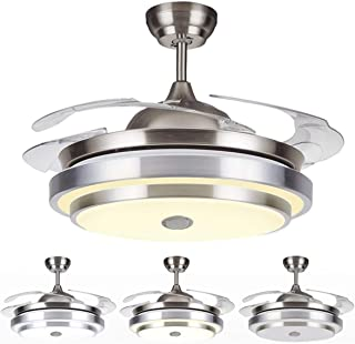 Tengchang 144 LED Remote Ceiling Fan Light Warm cool white W/Bluetooth speaker 4 Blades 42 inch