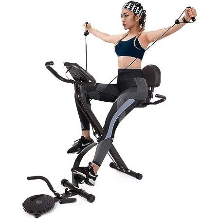 INTEY Bicicleta Estática Plegable con Bandas de Ejercicios y Disco Giratorio, 16 Niveles Resistencia Magnética Ajustable y Fitness Sillín de Gel, ...