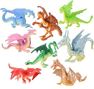 48 Mini Dragon 2 Inch Toy Figures – 48 Dragons and 1 Vortex Eraser – Prizes, Fantasy, Mythical Play, Party Favors, Stocking Stuffers